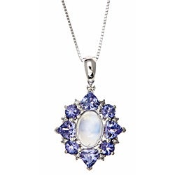 D'yach 10k White Gold Blue Moonstone, Tanzanite and Diamond Necklace