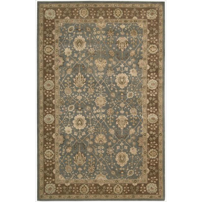 Nourison 3000 Hand-tufted Blue Wool Rug (5'6 x 8'6)
