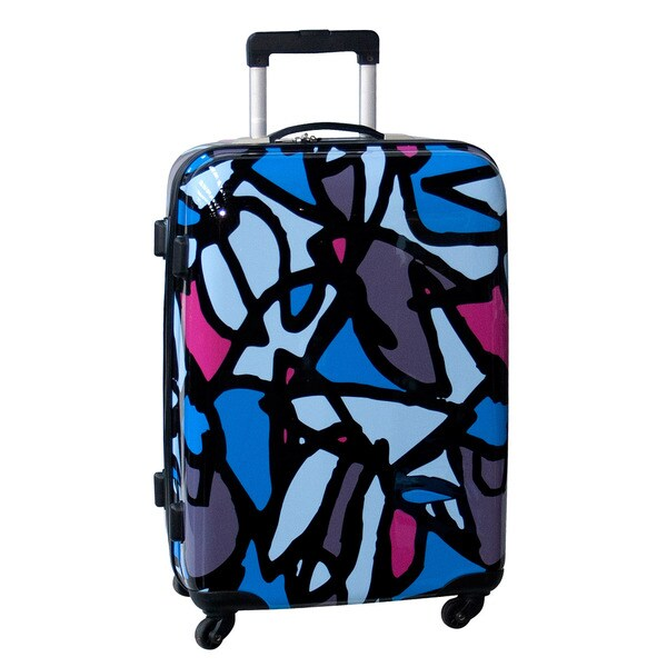 Ed Heck Scribbles Blue 25-inch Hardside Spinner Upright Suitcase