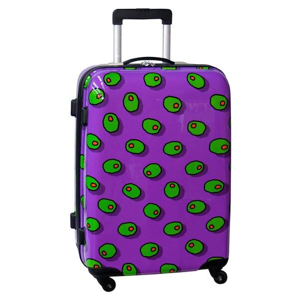 Ed Heck Olives Purple 25-inch Hardside Spinner Upright Suitcase