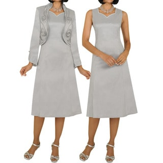 Divine Apparel Women's Platinum A-line Dress Suit