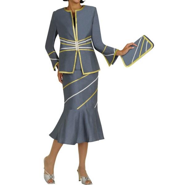 Divine Apparel Women's Strap Detail Skirt Suit
