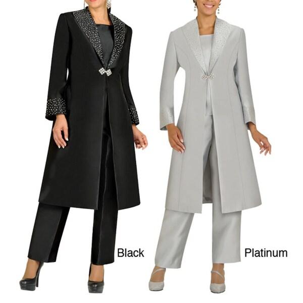 Divine Apparel Embellished Duster Coat Missy Pant Suit
