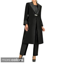 Divine Apparel Embellished Duster Coat Missy Pant Suit