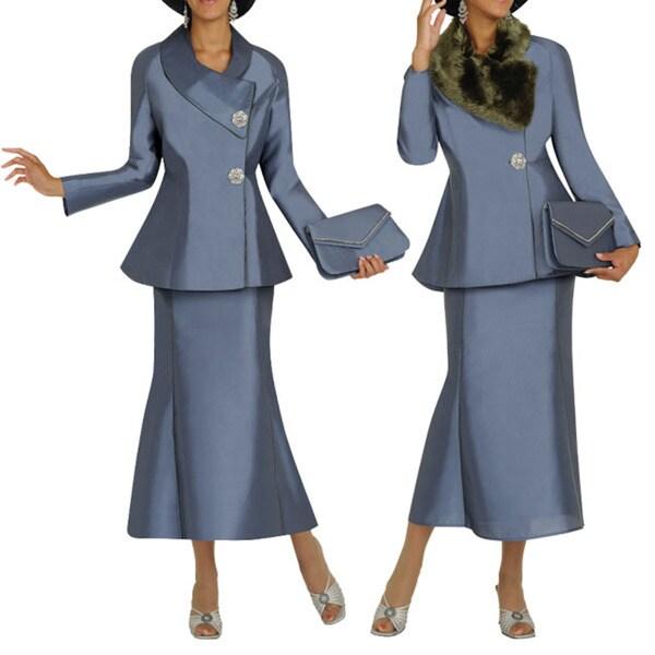 Divine Apparel Iridescent Fur Collar Missy Skirt Suit