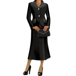 Divine Apparel Contrast Color Stitch Missy Skirt Suit