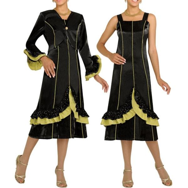 Divine Apparel Women's Black/ Light Olive A-line Dress Suit