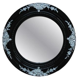 Traditional Glossy Black Decorative Round Framed Mirror