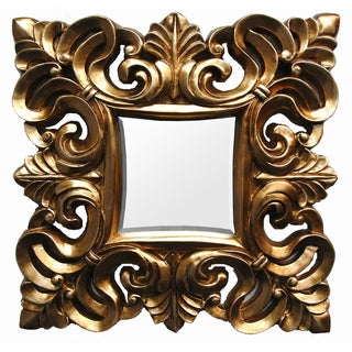 Square Contemporary Gold Finish Scroll Mirror