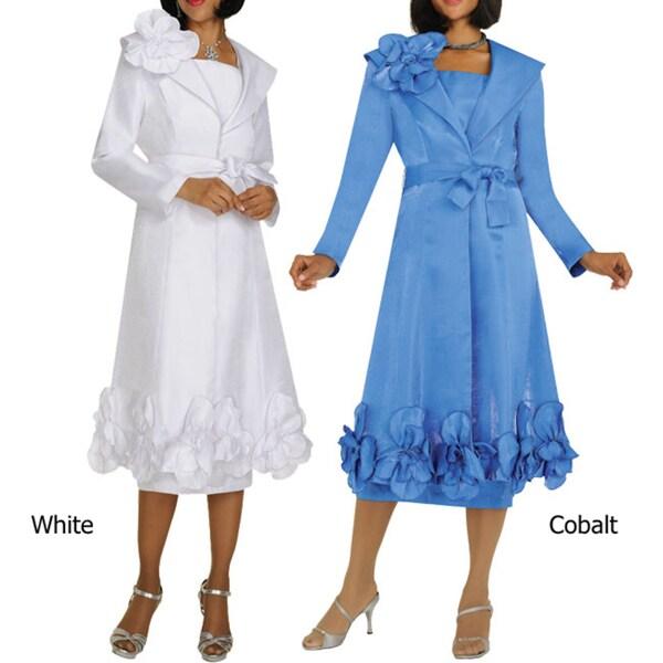 Divine Apparel Women's Floral Applique Jacket/ Dress Suit