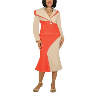 Divine Apparel Women's Plus Asymetrical Color-Block Skirt Suit