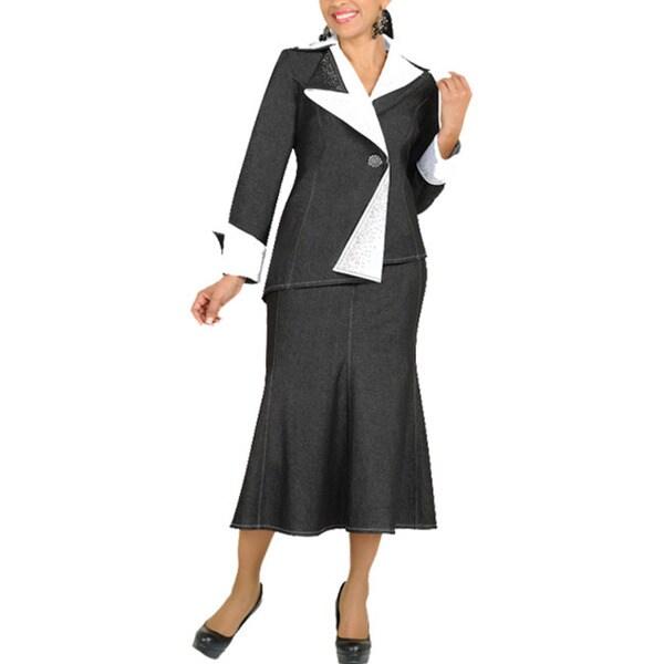 Divine Apparel Women's Two-tone Asymmetrical Denim Suit