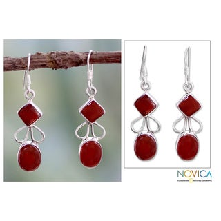 Sterling Silver 'Dream of Me' Carnelian Earrings (India)