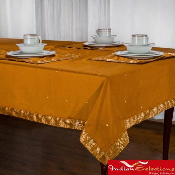 Handmade Mustard Sari Table Cloth (India)