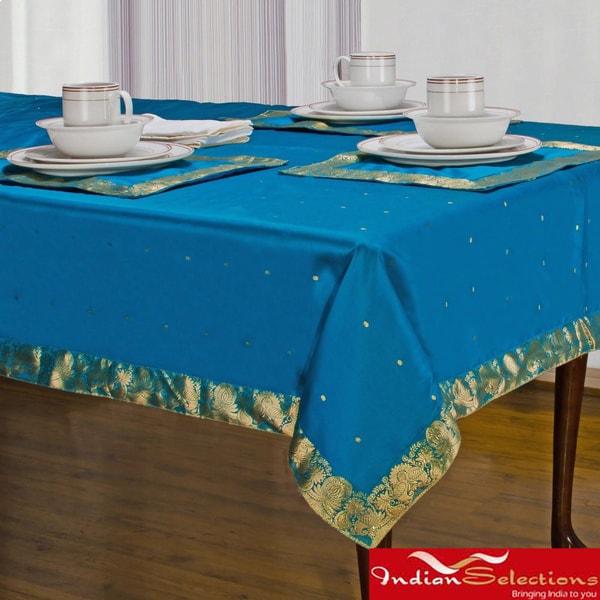 Handmade Island Blue Sari Table Cloth (India)
