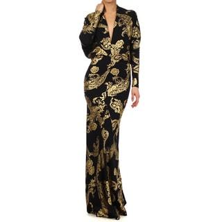 Tabeez Women's Paisley Print Draped Jersey Dress