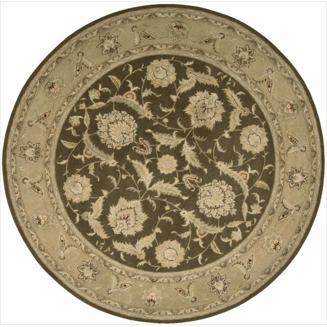 Nourison 3000 Hand-tufted Brown Wool Rug (8 x 8) Round