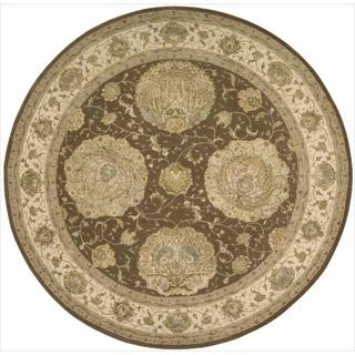 Nourison 3000 Hand-tufted Brown Rug (8 x 8) Round