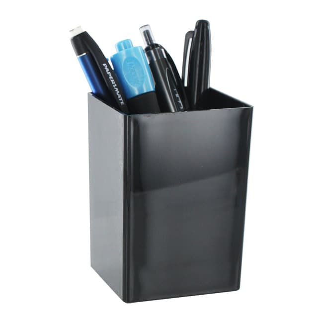 Universal Desk Black Plastic Pen Pencil Cup Holder