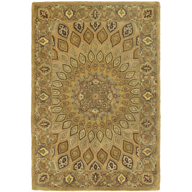 Handmade Heritage Medallion Light Brown/ Grey Wool Rug (3' x 5')