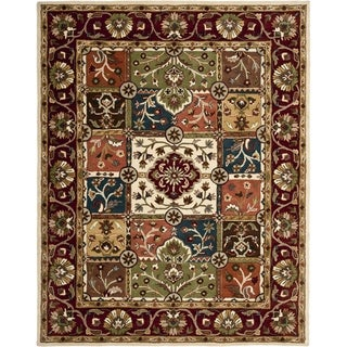 Handmade Heritage Panels Multi/ Red Wool Rug (9'6 x 13'6)