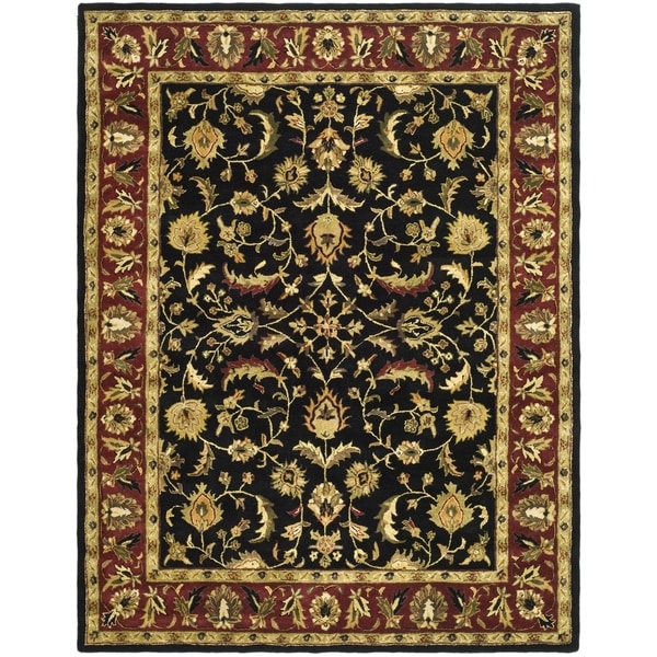 Safavieh Handmade Heritage Heirloom Black/ Red Wool Rug (9' x 12')
