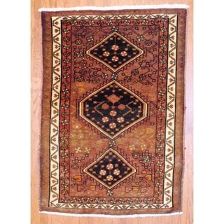 Persian Hand-knotted Hamadan Light Brown/ Ivory Wool Rug (4'8 x 6'9)