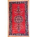 Persian Hand-knotted Hamadan Red/ Navy Wool Rug (4'1 x 7'7)