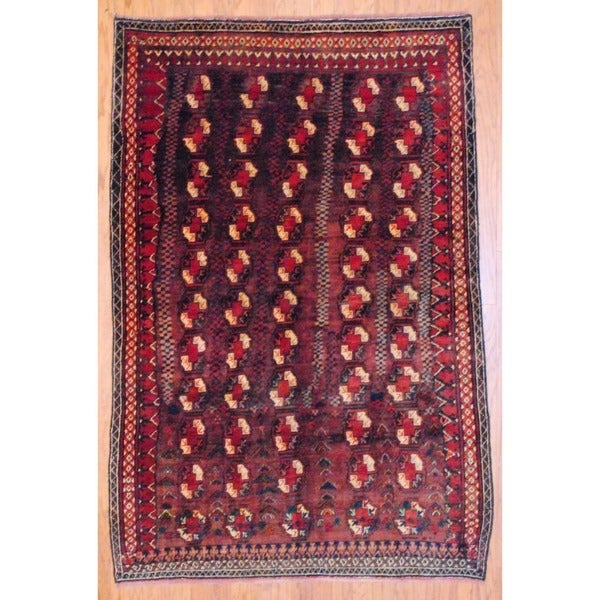 Persian Hand-knotted Balouchi Brown/ Red Wool Rug (4'7 x 7')