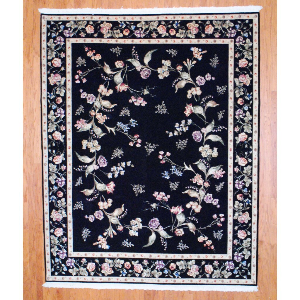 Sino Hand-knotted Aubusson Black/ Beige Wool/Silk Rug (8' x 10')