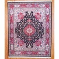Sino Hand-knotted Tabriz Black/ Red Wool/Silk Rug (8' x 10')