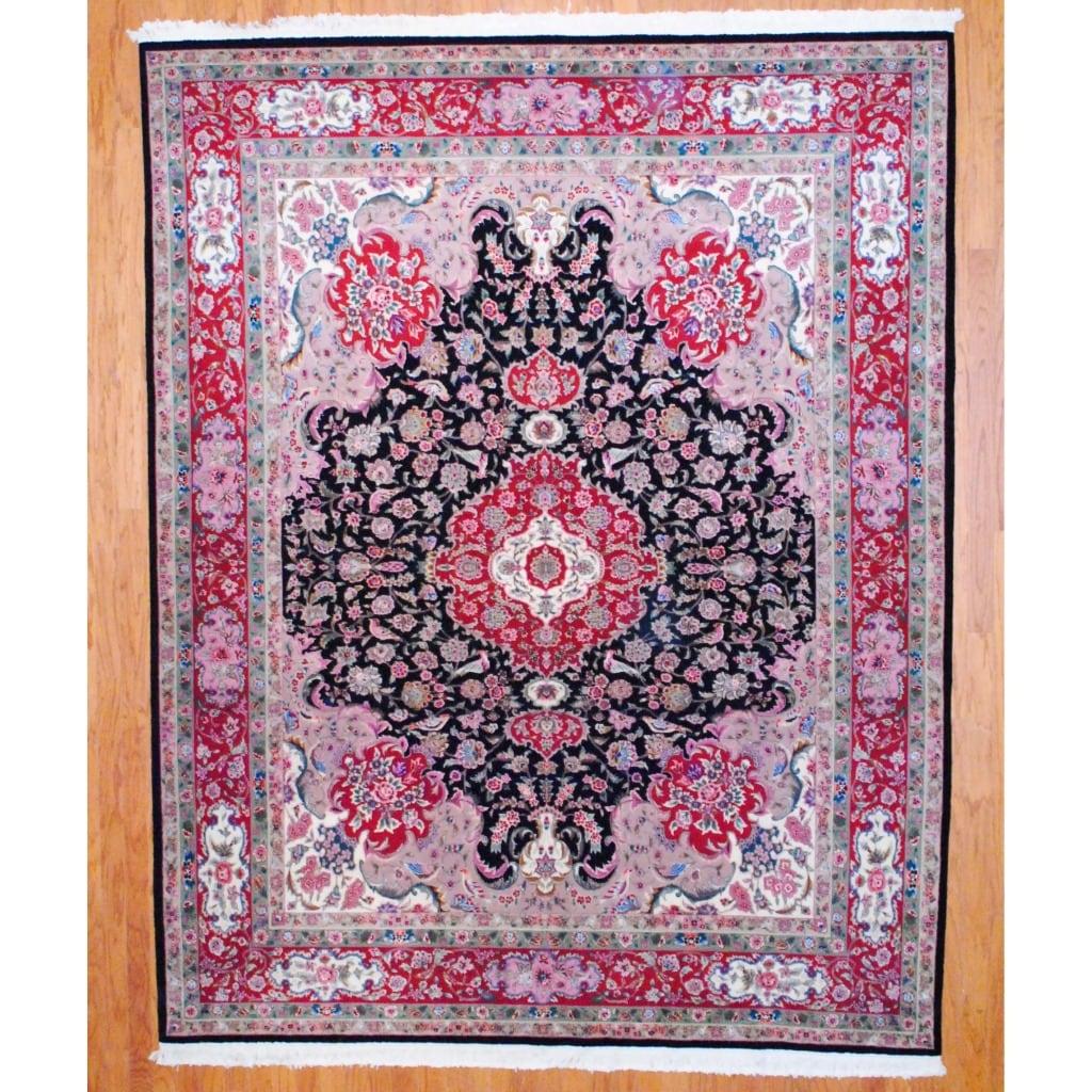 Sino Hand-knotted Tabriz Black/ Red Wool/Silk Rug (8' x 10')
