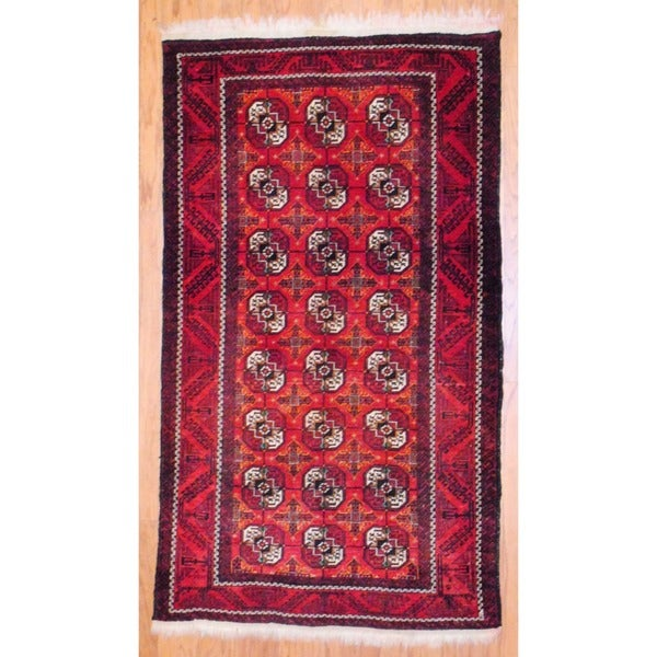 Persian Hand-knotted Balouchi Red/ Black Wool Rug (4'2 x 7'4)