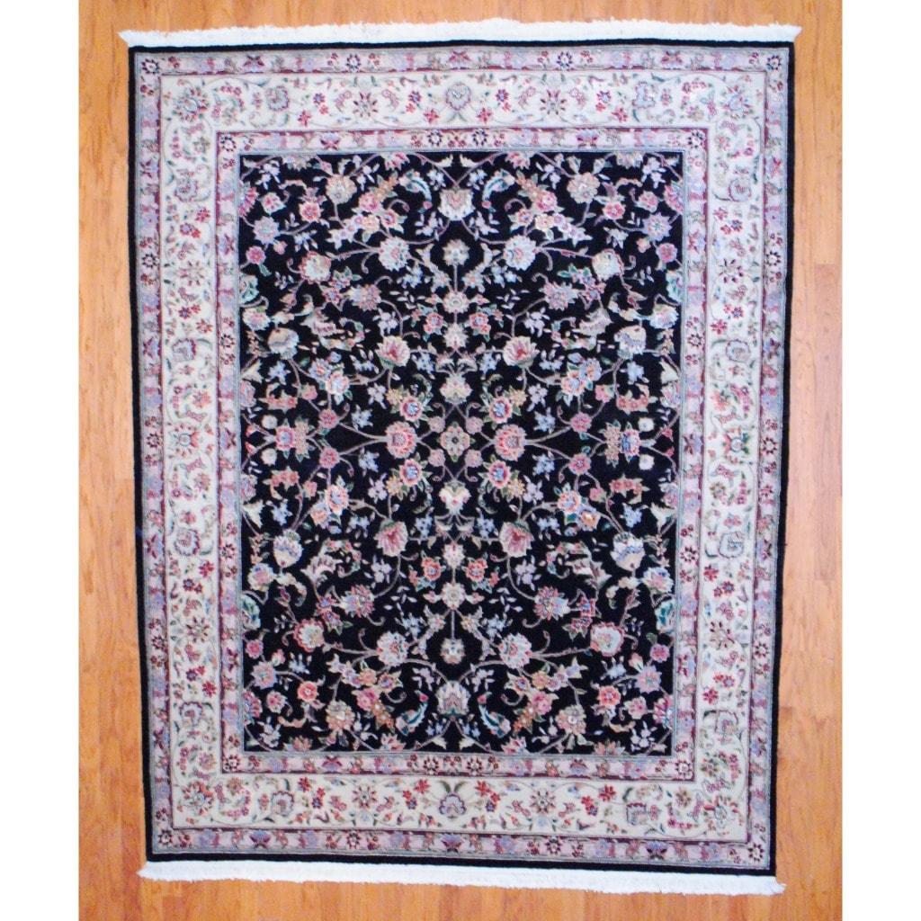 Indo Hand-knotted Tabriz Black/ Ivory Wool/Silk Rug (8' x 10')