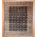 Indo Hand-knotted Tabriz Black/ Brown Wool Rug (8' x 10')