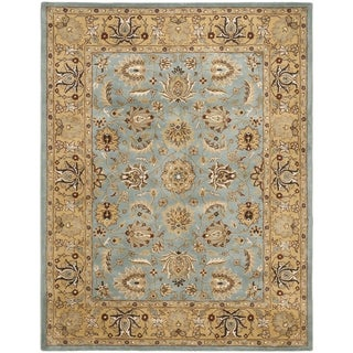 Handmade Heritage Mahal Blue/ Gold Wool Rug (9' x 12')