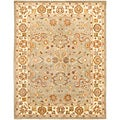 Handmade Heritage Oushak Light Green/Beige Wool Rug (9' x 12')