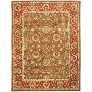 Handmade Heritage Beige/ Rust Wool Rug (9' x 12')
