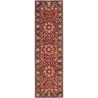 Handmade Heritage Birj Red/ Navy Wool Rug (2'3 x 12')
