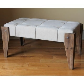 International Caravan Rustic Elegance Tufted Fabric Bench