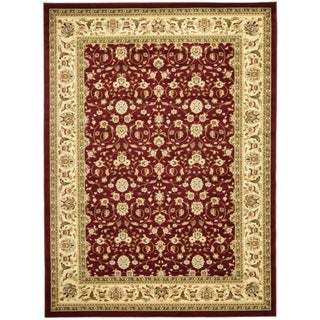 Lyndhurst Collection Floral Burgundy/ Ivory Runner (4' x 6')