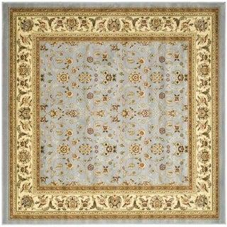 Lyndhurst Floral Motif Greyish Blue/ Ivory Rug (4' Square)