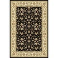 Lyndhurst Collection Traditional Black/ Ivory Runner Rug (4' x 6')