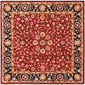 Handmade Heritage Birj Red/ Navy Wool Rug (8' Square)