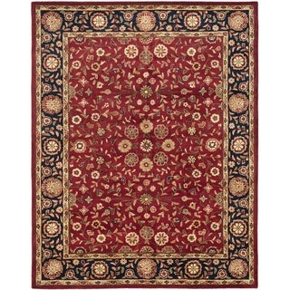Safavieh Handmade Heritage Birj Red/ Navy Wool Rug (9' x 12')
