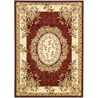 Safavieh Lyndhurst Collection Aubussons Red/ Ivory Rug (9' x 12')