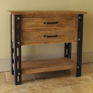 International Caravan Rustic Forge Two-drawer Side Table