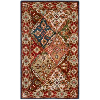 Safavieh Handmade Diamonds Bakhtiari Green/ Red Wool Rug (4' x 6')