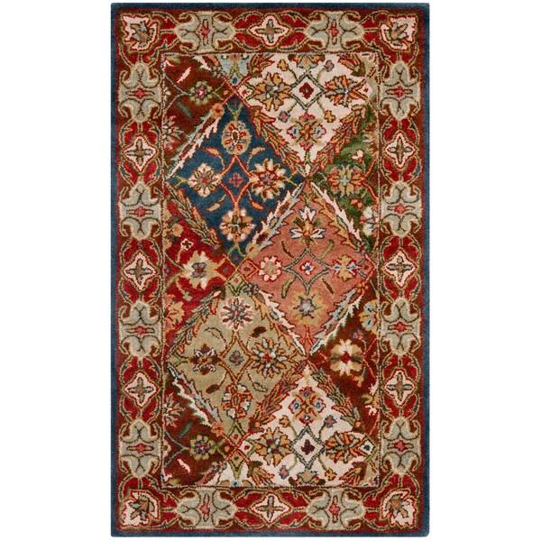 Safavieh Handmade Diamonds Bakhtiari Green/ Red Wool Rug (4' x 6')