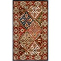 Handmade Diamonds Bakhtiari Green/ Red Wool Rug (4' x 6')